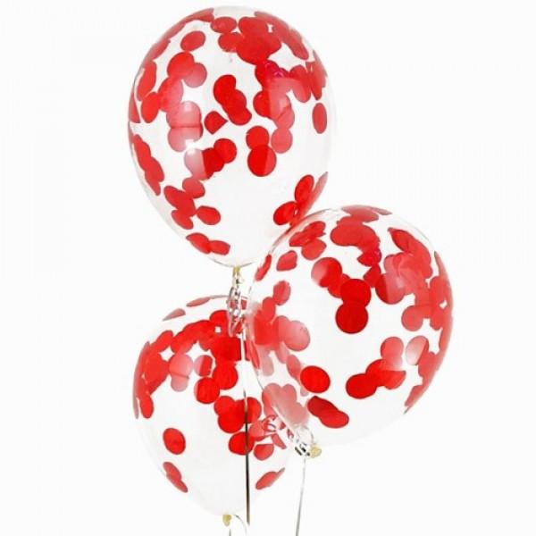 """Воздушные шарики с конфетти """" Красный """""""