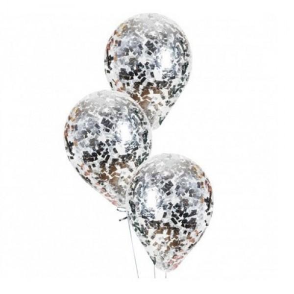 """Воздушные шарики с конфетти """" Серебро """""""