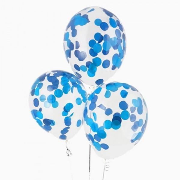 """Воздушные шарики с конфетти """" Голубой """""""