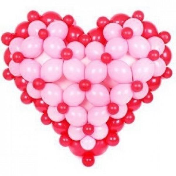 Фигура из воздушных шариков Сердце плетенное