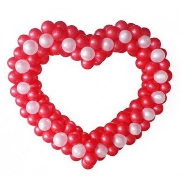 Фигура из воздушных шариков Красно-розовое сердце