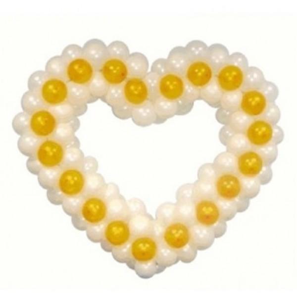 Фигура из воздушных шариков Бело-желтое сердце