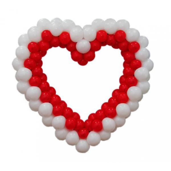 Фигура из воздушных шариков Красно-белое сердце