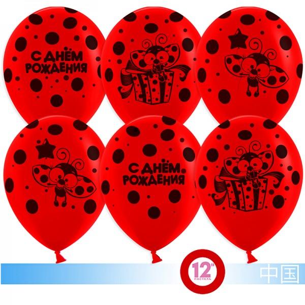 Воздушные шарики С Днем Рождения (божья коровка)