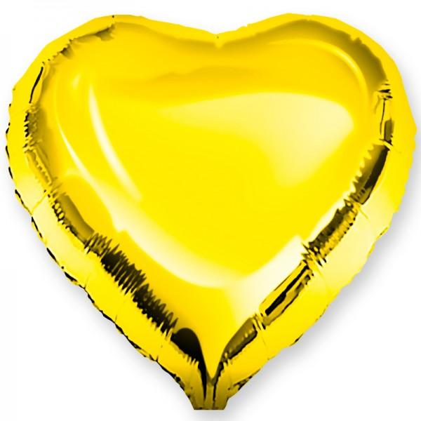 Шар фольгированный Сердце, Золото, (18/46 см) 1 шт.