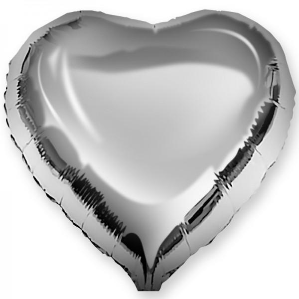 Шар фольгированный Сердце, Серебро, (18/46 см) 1 шт.