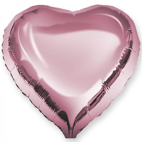 Шар фольгированный Сердце, Розовый, (18/46 см) 1 шт.