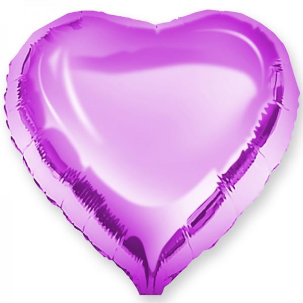 Шар фольгированный Сердце, Фуше, (18/46 см) 1 шт.