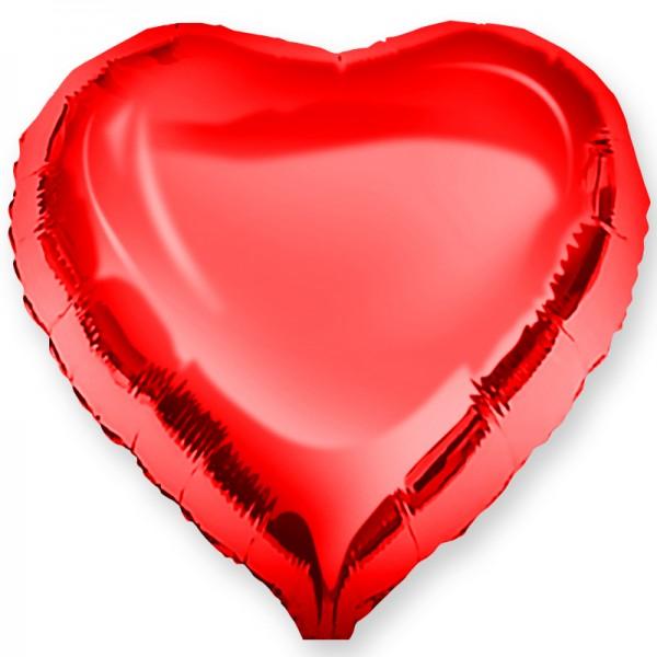 Шар фольгированный Сердце, Красный, (18/46 см) 1 шт.
