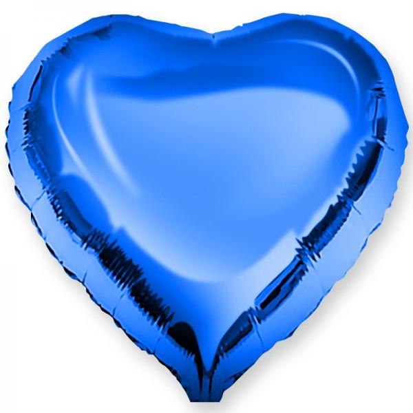 Шар фольгированный Сердце, Cиний, (18/46 см) 1 шт.