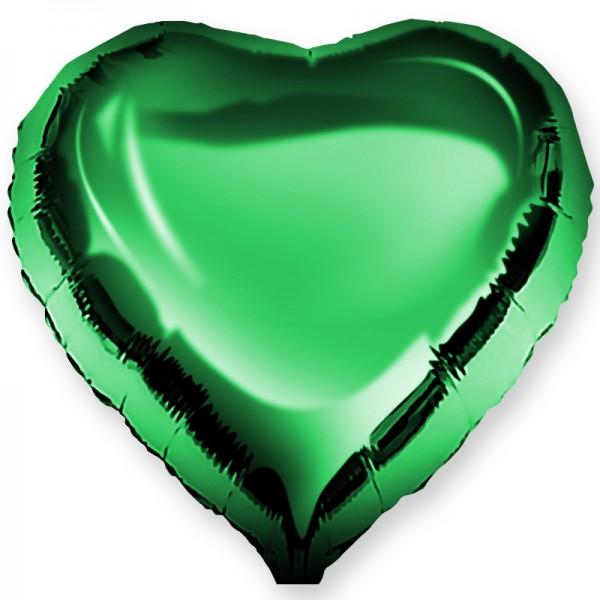 Шар фольгированный Сердце, Зеленый, (18/46 см) 1 шт.