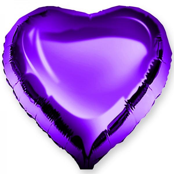 Шар фольгированный Сердце, Фиолетовый, (18/46 см) 1 шт.