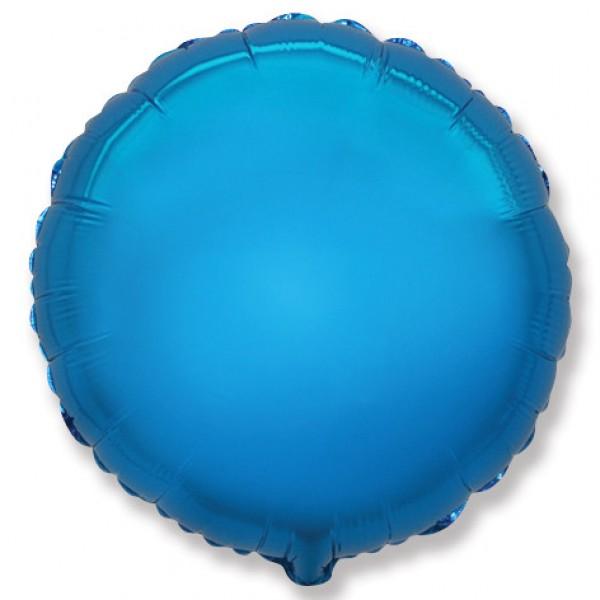 Шар фольгированный Круг, Синий, (18/46 см) 1 шт.