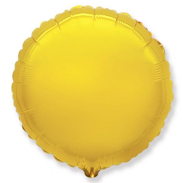 Шар фольгированный Круг, Золото, (18/46 см) 1 шт.
