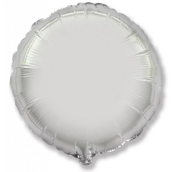 Шар фольгированный Круг, Серебро, (18/46 см) 1 шт.