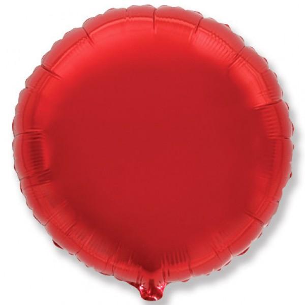 Шар фольгированный Круг, Красный, (18/46 см) 1 шт.