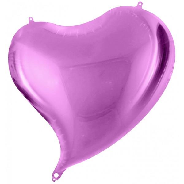Шар фольгированный Сердце,Изгиб,     Фуше, (18/46 см) 1 шт.