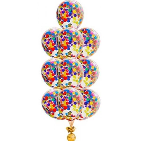 Фонтан из воздушных шариков Конфетти ассорти