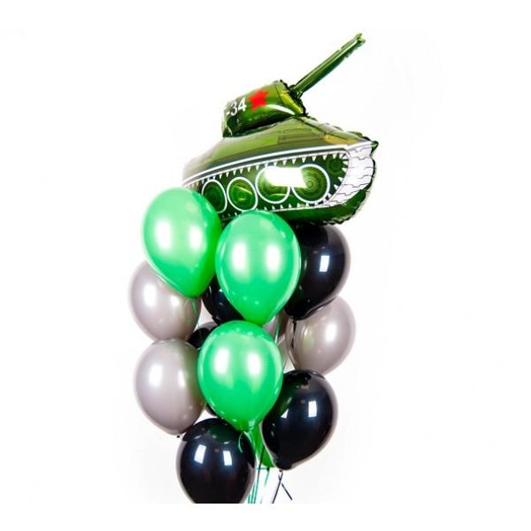 Фонтан из воздушных шариков 23 февраля (танк)