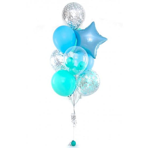 Фонтан из воздушных шариков Голубая лагуна