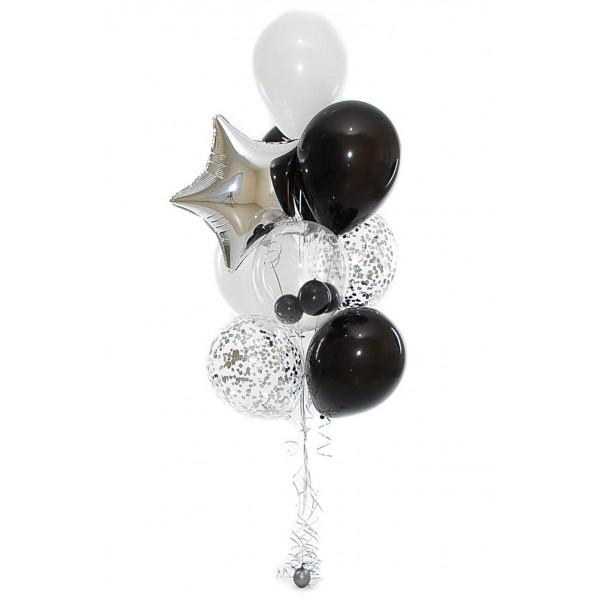 Фонтан из воздушных шариков Серебро с черным