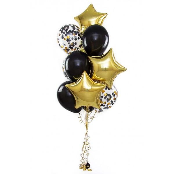 Фонтан из воздушных шариков Золото с конфетти
