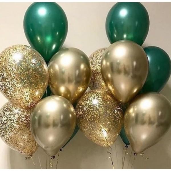 Фонтаны из воздушных шариков Изумрудно-золотой