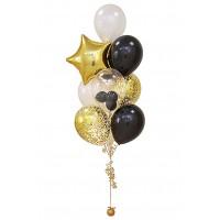 Фонтан из воздушных шариков Золото с черным