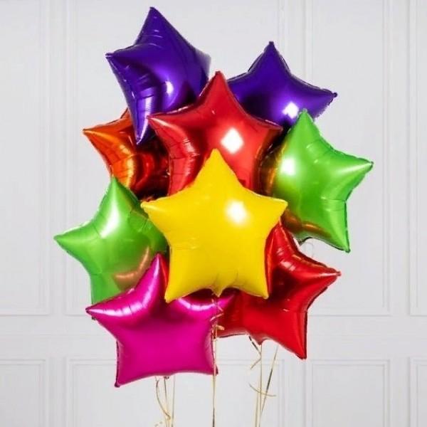 Букет из фольгированных  шаров-звезд  ассорти