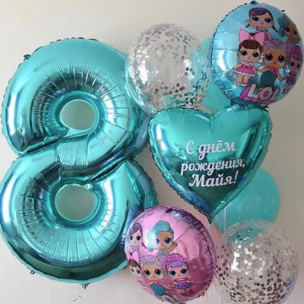 Композиция из воздушных шариков Кукла LOL № 14