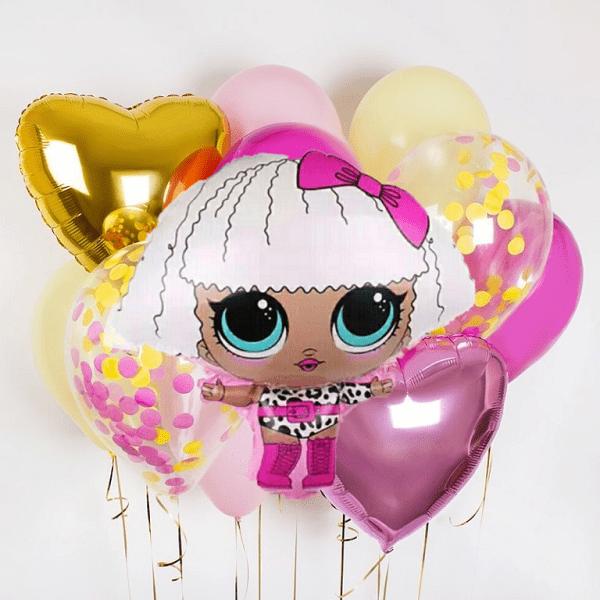 Букет из воздушных шариков Кукла LOL, Гламур