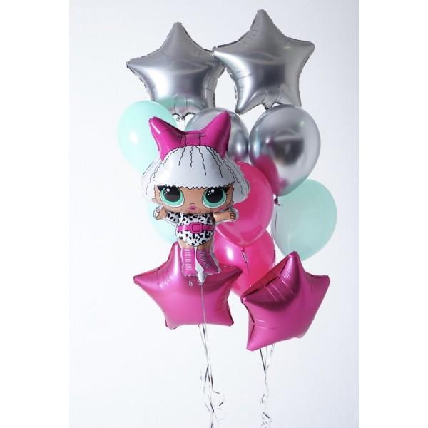 Букет из воздушных шариков  Кукла LOL, Звезды
