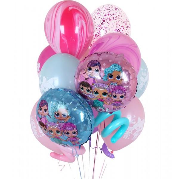 Букет из воздушных шариков  Кукла LOL,  Мрамор