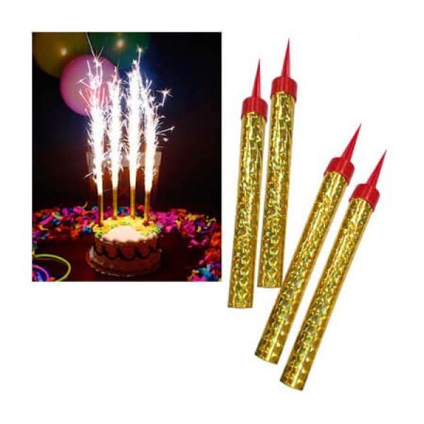 Свеча Фонтан для торта, 12,5 см, 4 шт