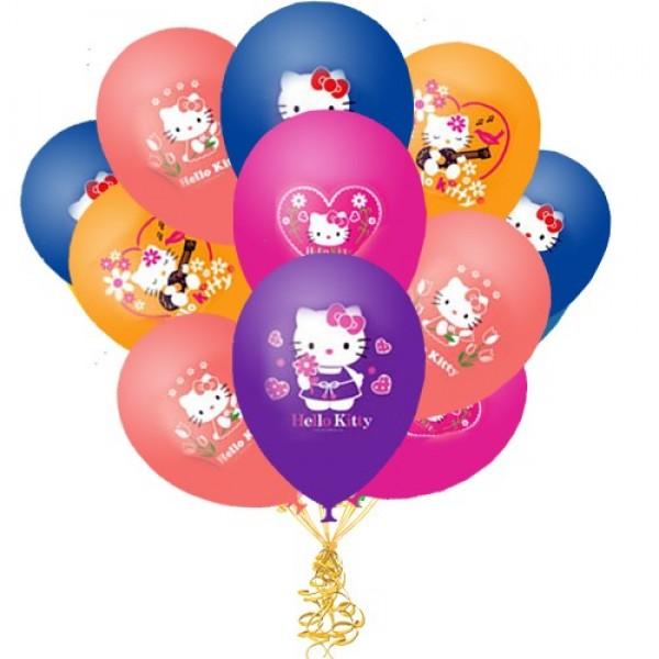 Облако из воздушных шариков  Hello Kitty
