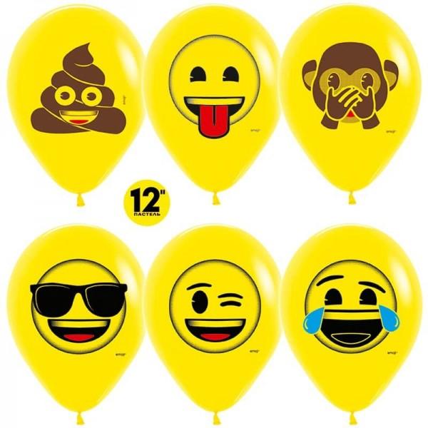 Воздушный шар  Смайлы, Emoji (Озорные), Желтый (12''/30 см)