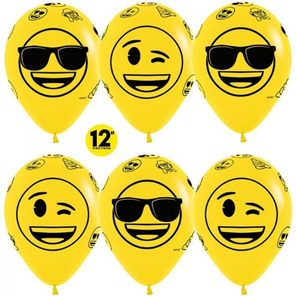 Воздушный шарики Смайлы, Emoji (Крутые)  (12''/30 см)
