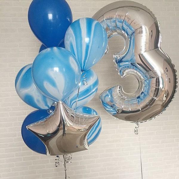 Композиция из воздушных шариков День Рождение. Мрамор
