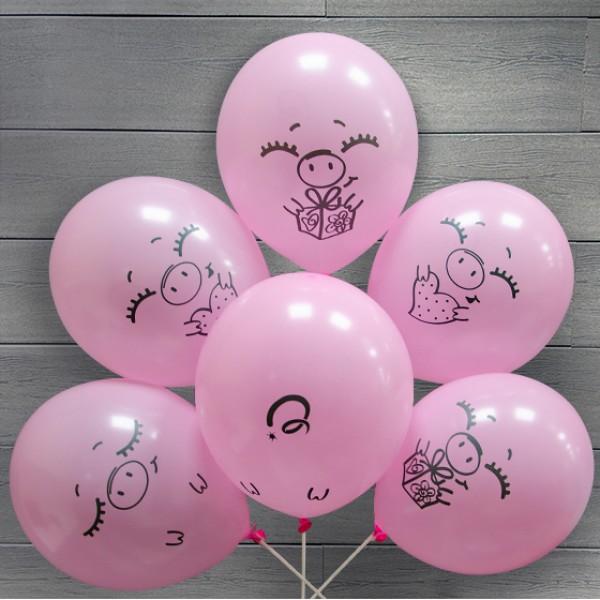 Облако из воздушных шариков Забавные свинки (12''/30 см)
