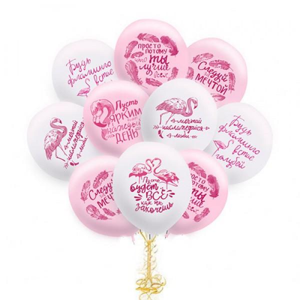 Облако из воздушных шариков Фламинго