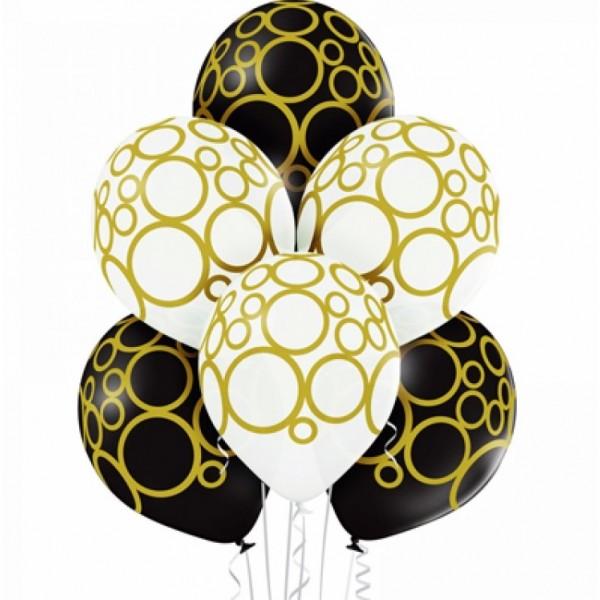 Воздушные латексные шарики Кольца бело-черные