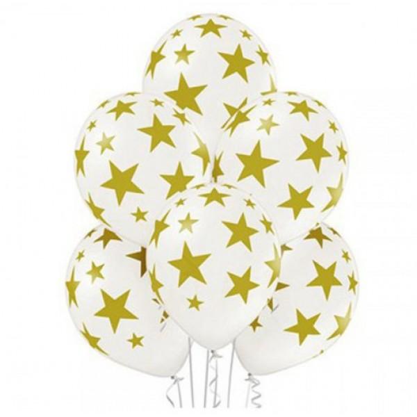 Воздушные латексные шарики Звезды на белом