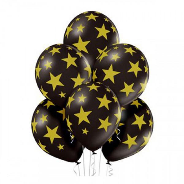 Воздушные латексные шарики Звезды на черном