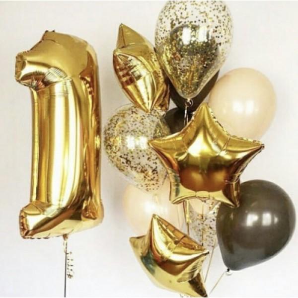 Композиция из воздушных шаров Цифры в золотом