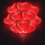 Светящиеся воздушные шарики сердца (Красные)