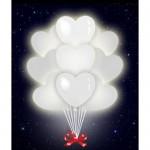 Светящиеся воздушные шарики сердца (Белые)